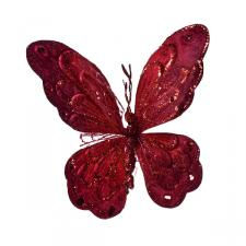 Ruby Red Fabric Butterfly On Clip - 22cm x 22cm