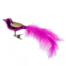 Gisela Graham Pink Glass Clip On Bird With Pink Tail - 6cm