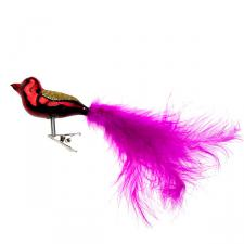 Gisela Graham Red Glass Clip On Bird With Pink Tail - 6cm