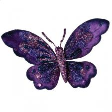 Purple Butterfly On Clip - 18cm