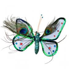 Gisela Graham Mesh & Peacock Feather Decorative Butterfly - 18cm