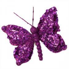 Double Wing Cyclamen Pink Glitter Butterfly On Clip - 15cm x 16cm
