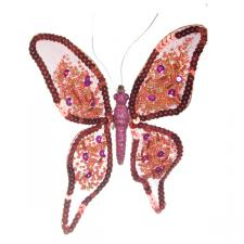 Red & Pink Sequinned Butterfly With Pointed Wings - 19cm