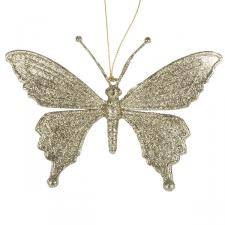Gold Glitter Butterfly Hanging Decoration With Scalloped Wings - 10cm X 10cm