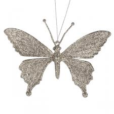 Pearl Glitter Butterfly Hanging Decoration With Scalloped Wings - 10cm X 10cm