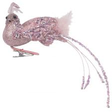 Pink Glitter And Beaded Bird On Clip - 28cm