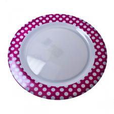 Pink & White Polka Dot Melamine Plate - 28cm