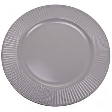 Embossed Bevelled Rim Pale Taupe Round Charger Plate - 33cm Diameter