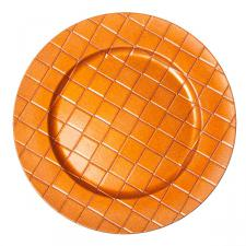 Round Patterned Charger Plate 33cm Diameter - Orange