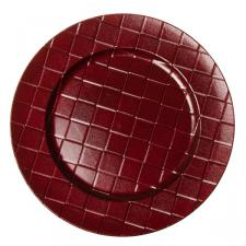 Round Patterned Charger Plate 33cm Diameter - Red
