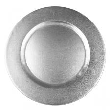 Round Embossed Silver Leaf Charger Plate - 33cm