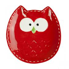 Red Owl Shaped Snack Plate - 18cm
