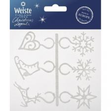 Set Of 6 White Foil Glitter Wine Glass Charms
