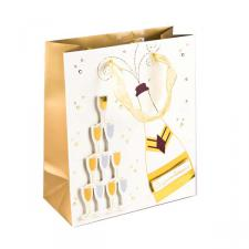 Medium Champagne Bottle and Glass Design Gift Bag