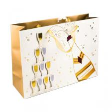 Shopper Champagne Bottle and Glass Design Gift Bag
