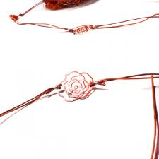 Elegant Red Cord and Metal Ribbon with Roses And Beads - 7m Roll
