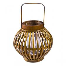 Brown Bamboo & Wood Lantern - 17 x 17 x 17cm