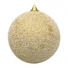 White & Gold Snowball Hanging Decoration - 135mm