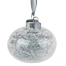 Squared Rose Hand Blown Glass Bauble - Silver Angel Hair - 70mm