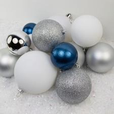 Bauble Pack - White Silver Pale Blue Baubles