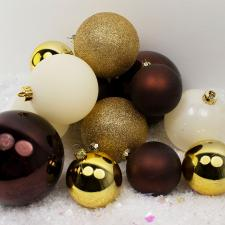 Bauble Pack - Champagne Gold Brown Ivory Baubles