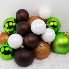 Bauble Pack - Lime Green Copper White Baubles