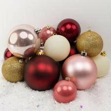 Bauble Pack - Burgundy Pink Gold Cream Baubles