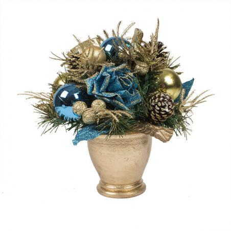 Regal Blue Christmas Room Decoration Collection - Small Centrepiece