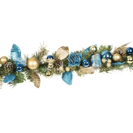 Regal Blue Christmas Room Decoration Collection - Round Centrepiece in Pot