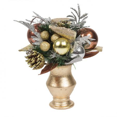 Precious Metal Christmas Room Decoration Collection - Round Centrepiece In Pot
