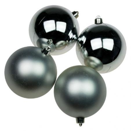 Cluster Of 6 x 100mm Silver Shatterproof Baubles With Green Pine Hanger