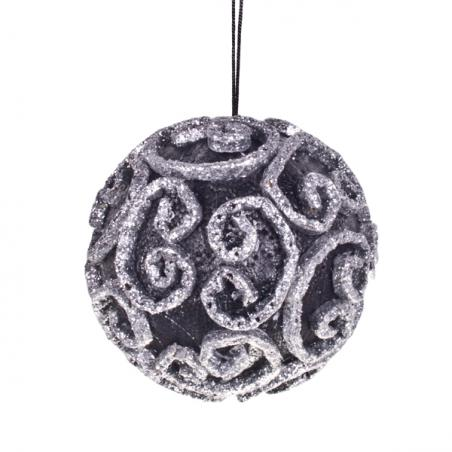 Round Silver Filigree & Glitter Hanging Decoration - 15cm