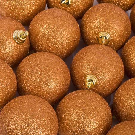 Luxury Copper Orange Shiny Finish Shatterproof Bauble Range - Pack of 4 x 140mm