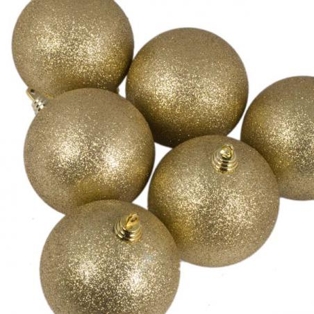 Xmas Baubles - Pack of 4 x 100mm Gold Glitter Shatterproof