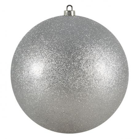 Squared Rose Plain Clear Glass Double Wall Round Bauble - Silver Angel Hair - 65mm