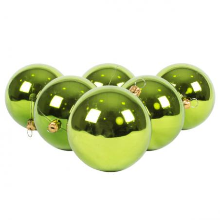 Xmas Baubles - Pack of 4 x 100mm Lime Green Glitter Shatterproof