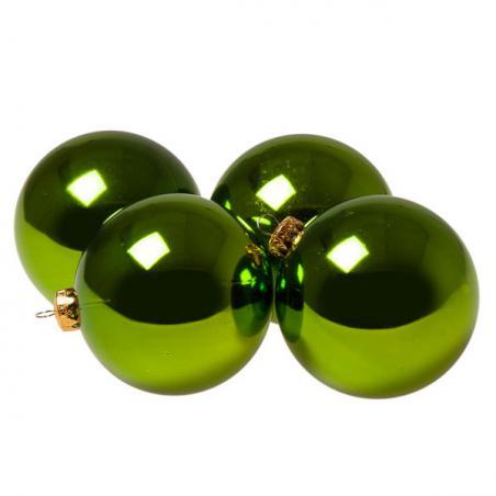 Luxury Lime Green Shiny Finish Shatterproof Bauble Range - Pack of 6 x 80mm