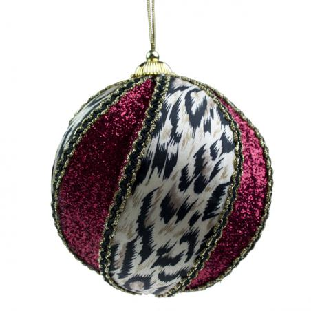 Flocked Cheetah Ball With Beads And Ribbon - 12cm