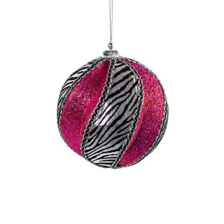 Decorative Burgundy Cheetah Design Swirl Ball - 12cm