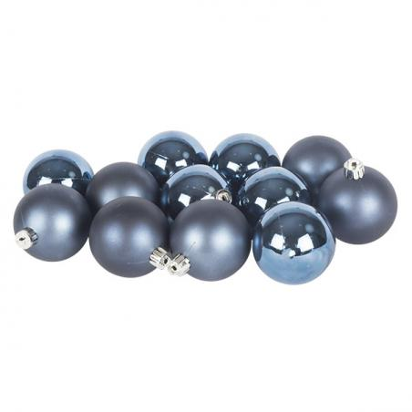 Night Blue Fashion Trend Shatterproof Baubles - Pack Of 4 x 100mm
