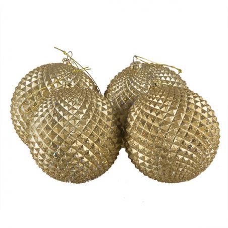 Gold Glitter Beaded Bauble - 175mm