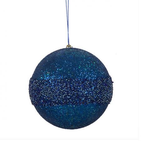 Dark Blue Metallic Finish Shatterproof Bauble - 80mm