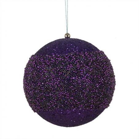 Mixed Finish Purple Shatterproof Baubles - 4 X 100mm