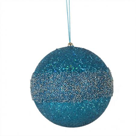 Brown & Turquoise Striped Sequin Bauble - 100mm