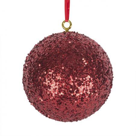 Red Shatterproof Glitter Bauble - 250mm