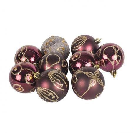 Burgundy Mixed Finish Shatterproof Baubles - 24 X 60mm