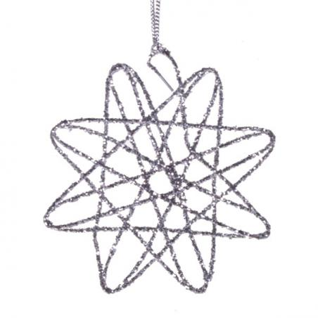 Silver Glitter Icicle Hanging Decoration - 20cm