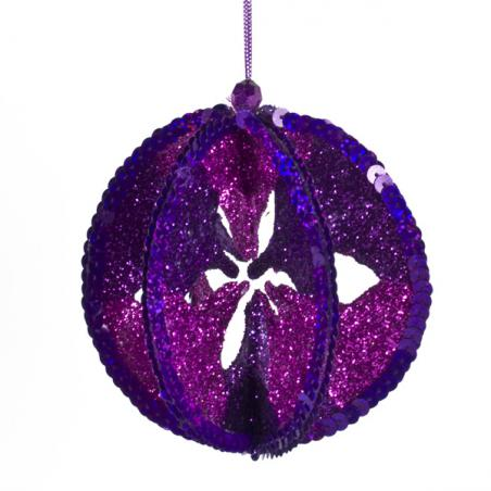 Purple Metallic Finish Shatterproof Bauble - 80mm