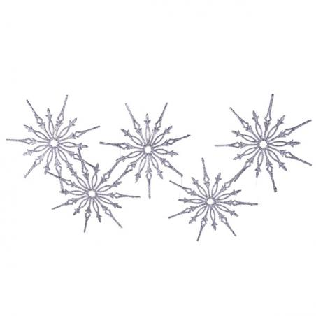 Silver Flecked Glass Icicles - 6 x 14cm