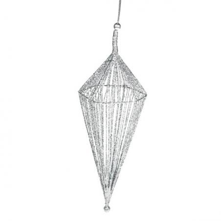 Silver Glitter Icicle Hanging Decoration - 40cm